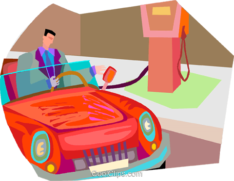 man filling car at gas station Royalty Free Vector Clip Art illustration vc002785