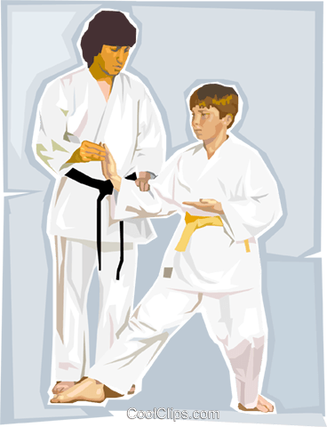 Martial arts instructor and student Royalty Free Vector Clip Art illustration vc002814