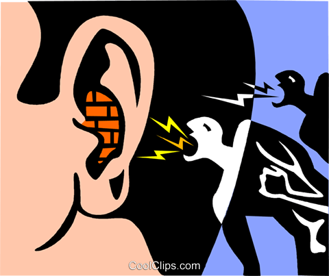 falling on deaf ears Royalty Free Vector Clip Art illustration vc002871