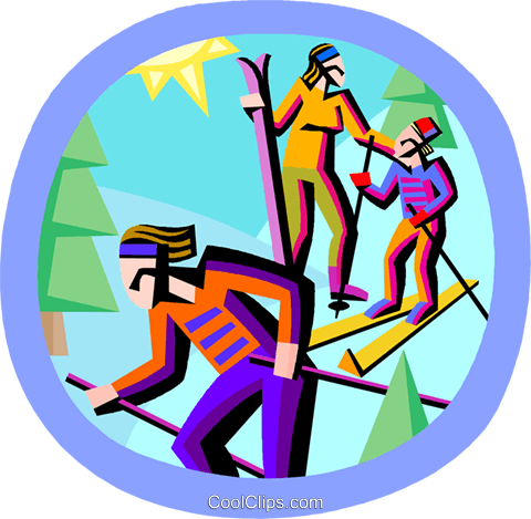 skiing Royalty Free Vector Clip Art illustration vc002906
