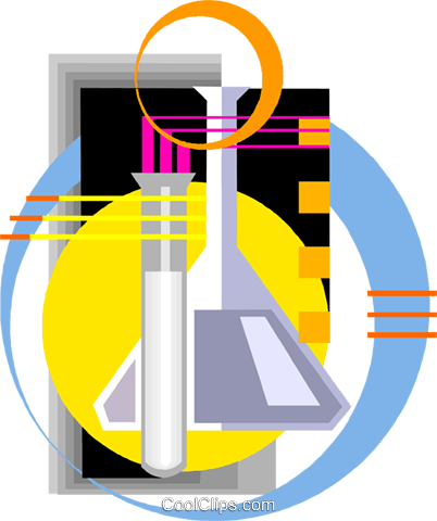Scientific symbol beakers Royalty Free Vector Clip Art illustration vc002926