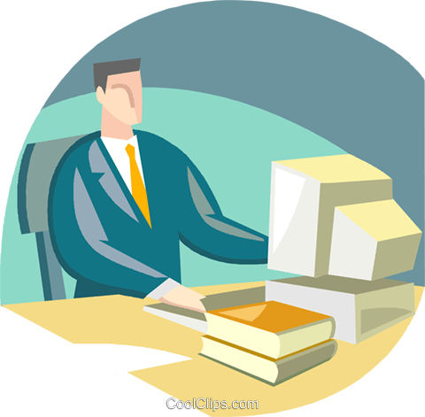 man at work station Royalty Free Vector Clip Art illustration vc002929