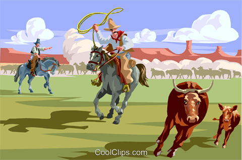 roping cattle Royalty Free Vector Clip Art illustration vc002943