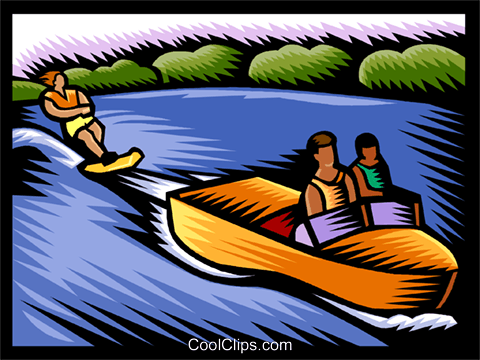 water skiing Royalty Free Vector Clip Art illustration vc002951