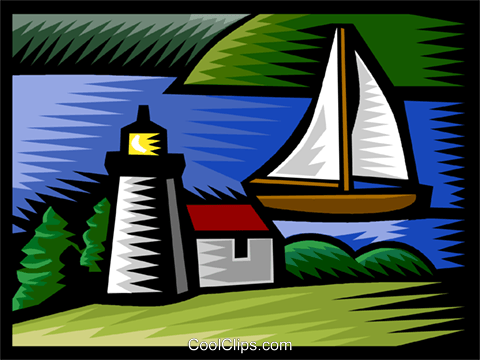 sailing by a lighthouse Royalty Free Vector Clip Art illustration vc002953