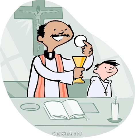 Alter boy with priest Royalty Free Vector Clip Art illustration vc002958