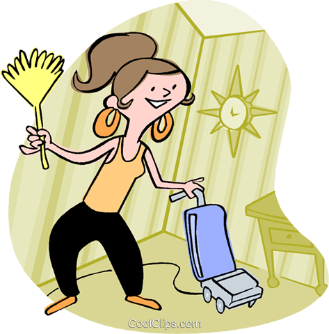 woman housecleaning Royalty Free Vector Clip Art illustration vc002963