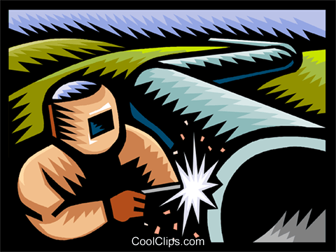 welding a pipeline Royalty Free Vector Clip Art illustration vc002981