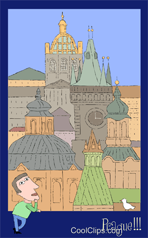 Prague village Royalty Free Vector Clip Art illustration vc003134