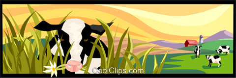 farm scene, cows Royalty Free Vector Clip Art illustration vc003188