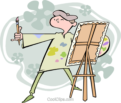 artist, painter Royalty Free Vector Clip Art illustration vc003222