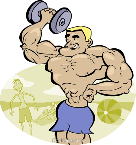 weightlifter, muscleman, macho man Royalty Free Vector Clip Art illustration vc003230