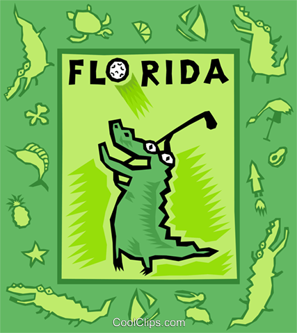Florida, golfing, alligator Royalty Free Vector Clip Art illustration vc003241