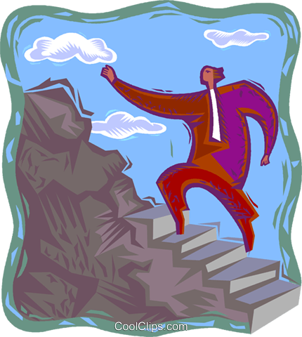 climbing to the top Royalty Free Vector Clip Art illustration vc003312