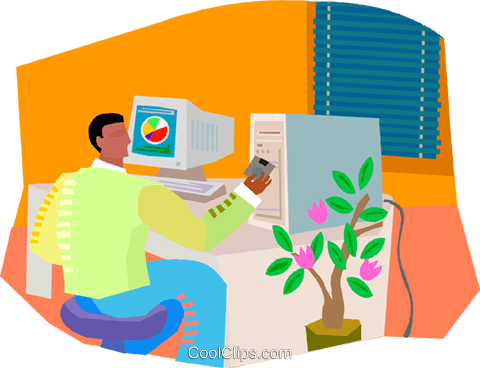 working on the computer, businessman Royalty Free Vector Clip Art illustration vc003350