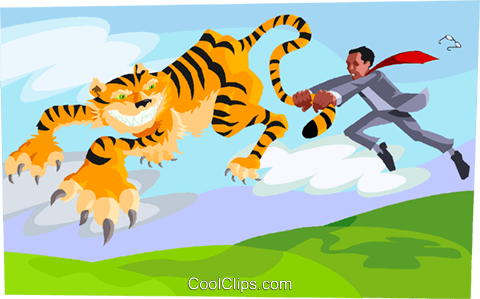 tiger by the tail Royalty Free Vector Clip Art illustration vc003412