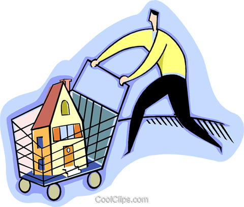 Shopping for a new home Royalty Free Vector Clip Art illustration vc003454