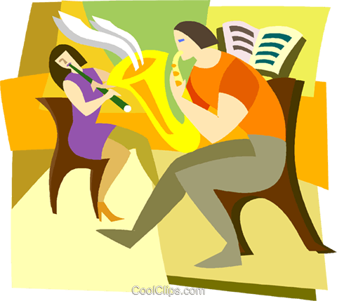 musicians, flute, saxophone Royalty Free Vector Clip Art illustration vc003482