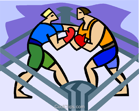 Boxers sparring Royalty Free Vector Clip Art illustration vc003485