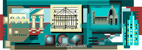architecture, buildings Royalty Free Vector Clip Art illustration vc003548