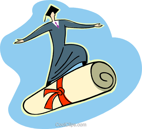 graduate riding on diploma Royalty Free Vector Clip Art illustration vc003627