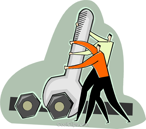 two men tightening nut Royalty Free Vector Clip Art illustration vc003630