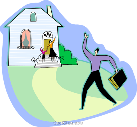 Father arriving home Royalty Free Vector Clip Art illustration vc003631