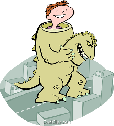 boy in a dinosaur costume Royalty Free Vector Clip Art illustration vc003660