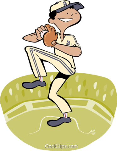 boy in wind up to pitch baseball Royalty Free Vector Clip Art illustration vc003661
