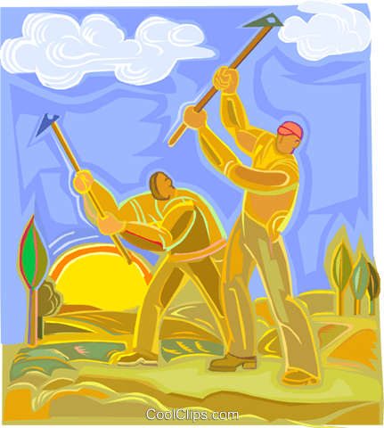 Farmers working the fields Royalty Free Vector Clip Art illustration vc003677
