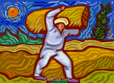 Farmer carrying bail of hay Royalty Free Vector Clip Art illustration vc003682