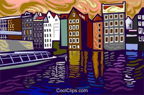 sight seeing boat in canal Royalty Free Vector Clip Art illustration vc003688