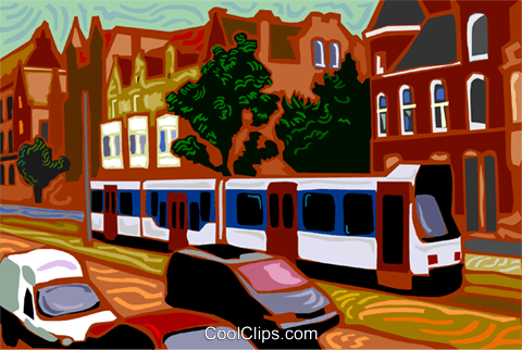 streetcar on road Royalty Free Vector Clip Art illustration vc003690