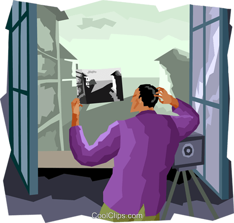 taking a picture from balcony Royalty Free Vector Clip Art illustration vc003744