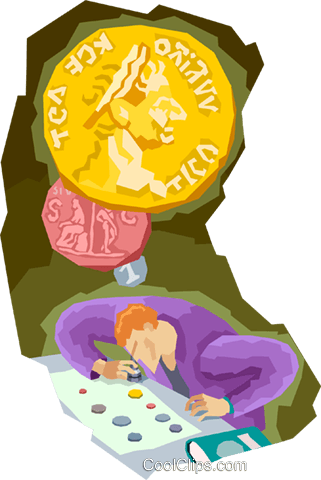 studying old coins Royalty Free Vector Clip Art illustration vc003749