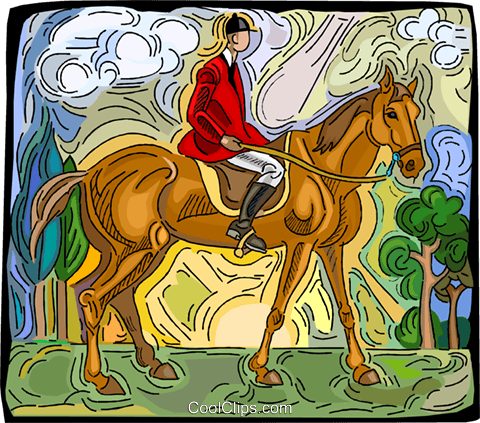 Person riding horse Royalty Free Vector Clip Art illustration vc003774