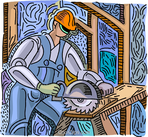 man cutting wood with skill saw Royalty Free Vector Clip Art illustration vc003776