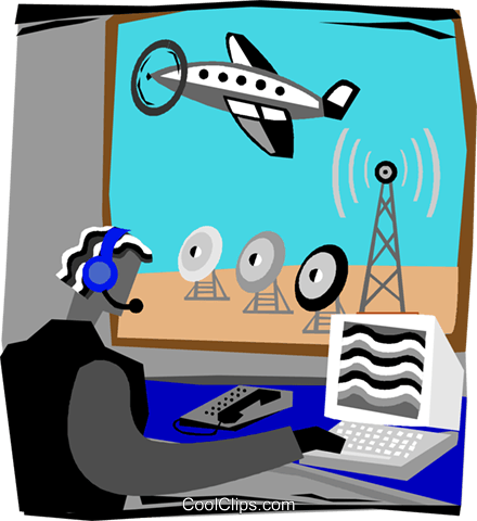 air traffic controller Royalty Free Vector Clip Art illustration vc003797