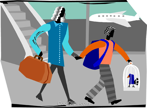 woman and child leaving airport Royalty Free Vector Clip Art illustration vc003808