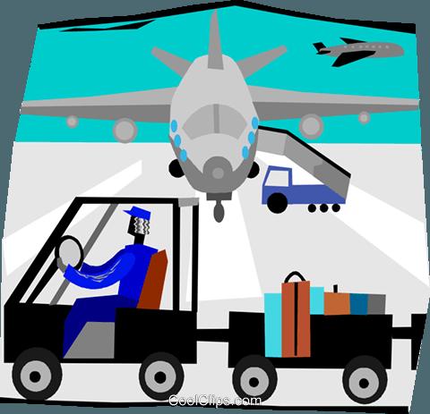 在机场行李车 免版税矢量剪贴画插图