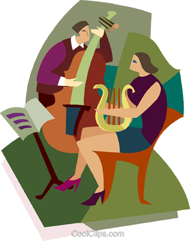 two people playing musical instruments Royalty Free Vector Clip Art illustration vc003854