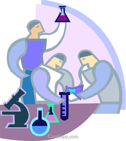 Researchers performing tests Royalty Free Vector Clip Art illustration vc003865