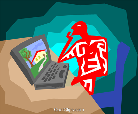 man working on lap top Royalty Free Vector Clip Art illustration vc003881