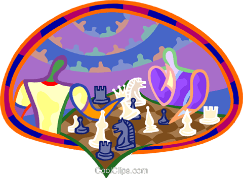 people playing chess Royalty Free Vector Clip Art illustration vc003921