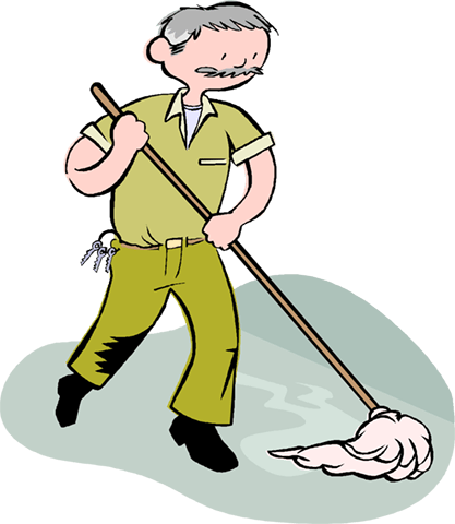 man mopping the floor, janitor Royalty Free Vector Clip Art illustration vc003956