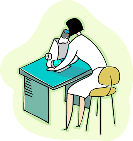 woman looking into an microscope Royalty Free Vector Clip Art illustration vc003986