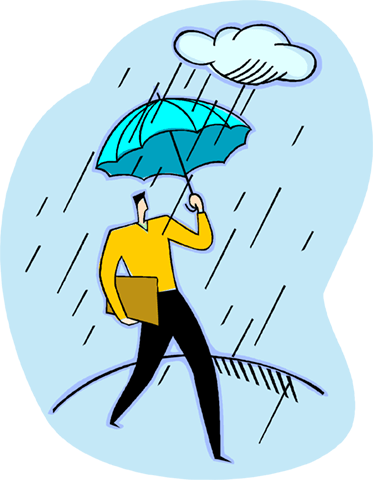 man walking in the rain with an umbrella Royalty Free Vector Clip Art illustration vc003988