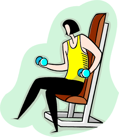 woman lifting dumbbells Royalty Free Vector Clip Art illustration vc003989