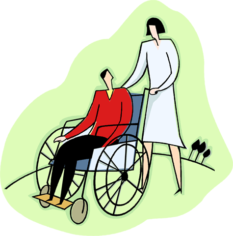 patient in a wheelchair Royalty Free Vector Clip Art illustration vc003992