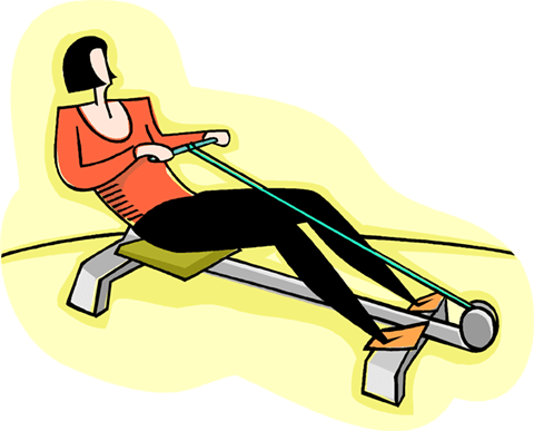woman exercising on a rowing machine Royalty Free Vector Clip Art illustration vc003994